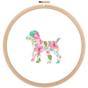 Black Poodle Dog cross stitch