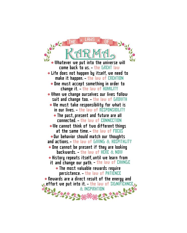 Laws of Karma cross stitch