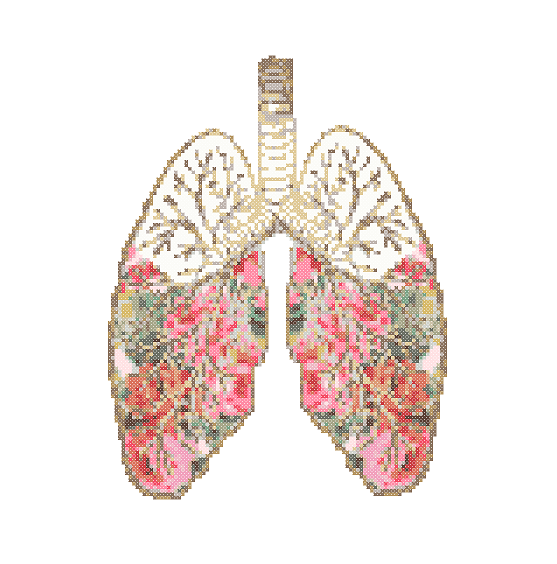 Floral Lungs cross stitch