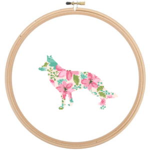 German Shepherd dog cross stitch floral