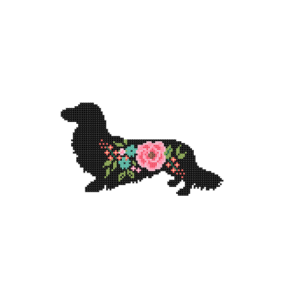 long haired Dachshund cross stitch