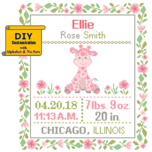 Pink Giraffe cross stitch