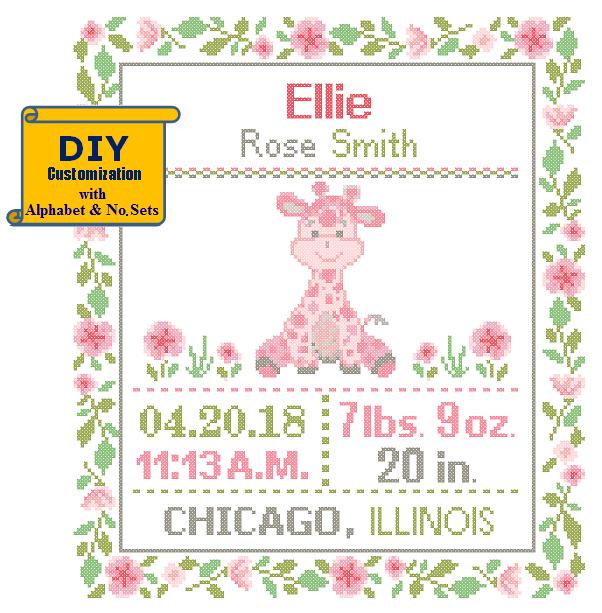 Pink Giraffe cross stitch