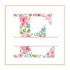 Floral E cross stitch