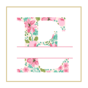 Floral E cross stitch