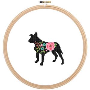 Floppy ear Pitbull dog cross stitch