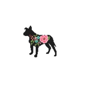 Floppy eared Pitbull dog cross stitch