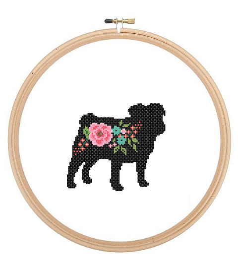 Pug Cross stitch