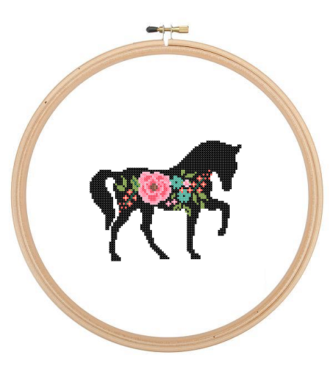 Foral Horse cross stitch