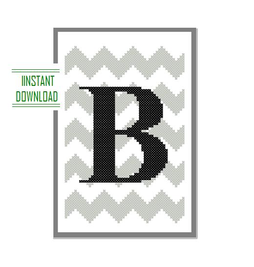 B Monogram cross stitch