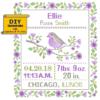 Purple bird cross stitch