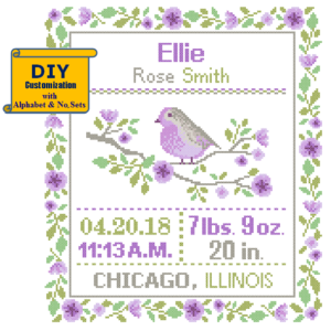 Purple bird cross stitch