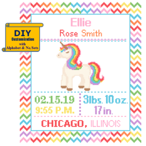 Rainbow unicorn cross stitch