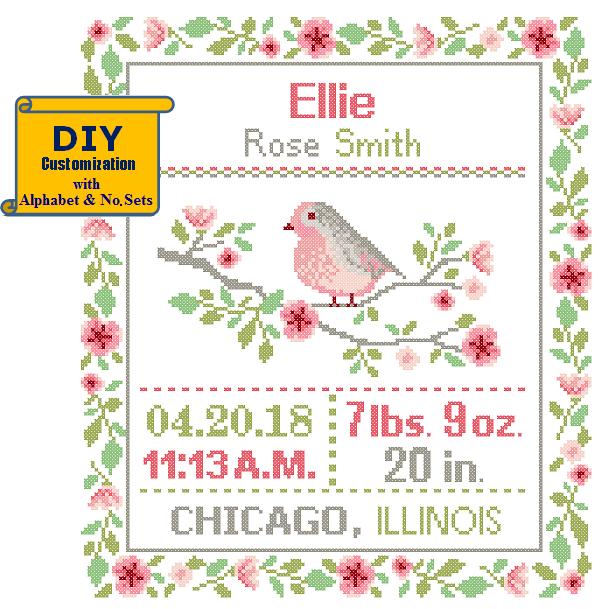 Floral bird cross stitch