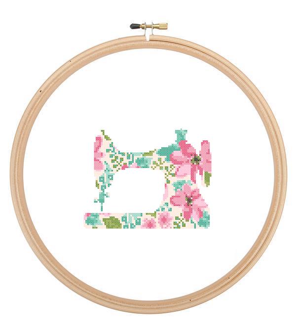 Sewing Machine cross stitch floral