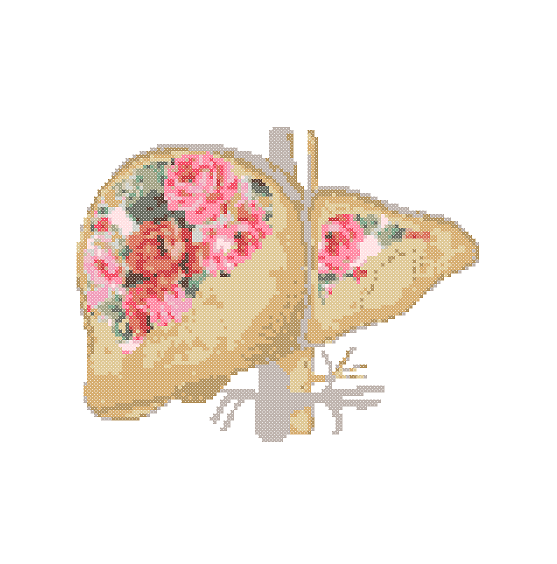 Floral Liver cross stitch