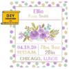 Purple Floral birth sampler