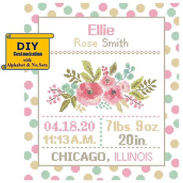 Pink Floral birth sampler