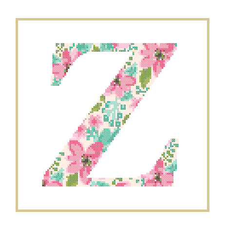 Floral Z cross stitch