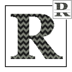 Chevron R Monogram cross stitch