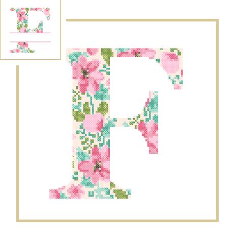 Floral F cross stitch