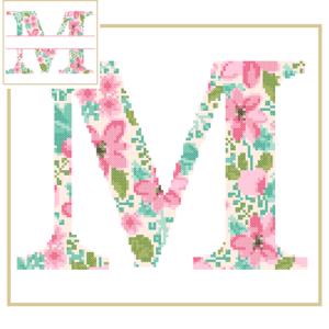 Floral M cross stitch