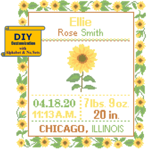 Sunflower birth cross stitch