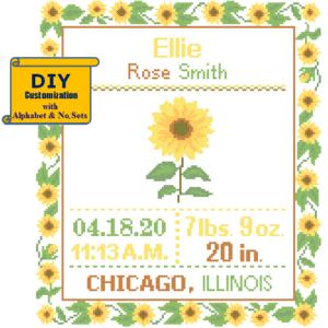 Sunflower birth cross stitch