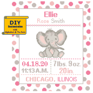 Baby elephant cross stitch