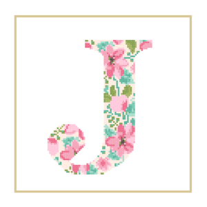 Floral J cross stitch