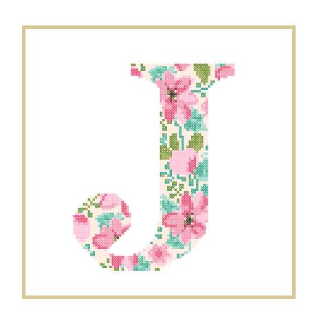 Floral J cross stitch