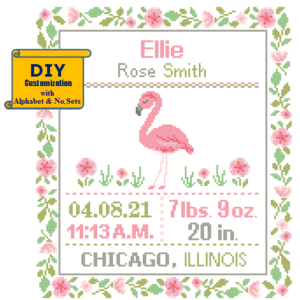 Flamingo birth cross stitch