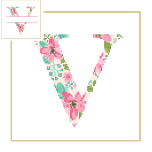 Floral V cross stitch