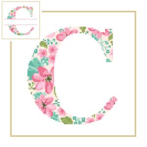 Floral C cross stitch