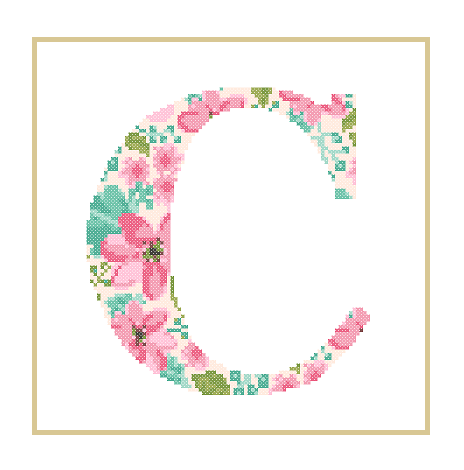 Floral C cross stitch