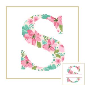 Floral S cross stitch