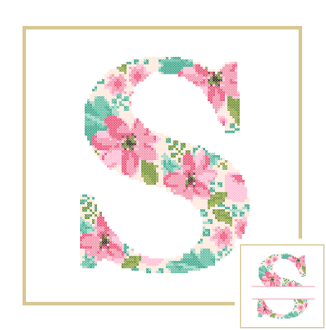 Floral S cross stitch