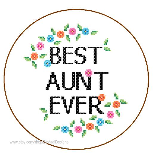 Best Aunt Ever cross stitch