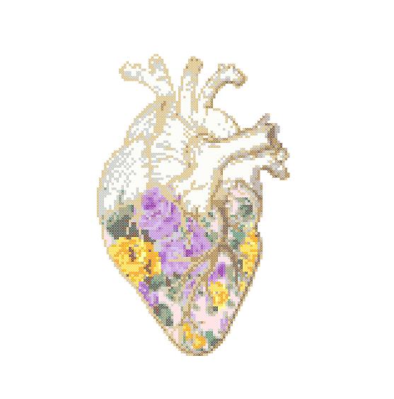 anatomical heart cross stitch purple