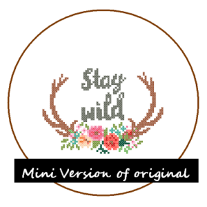 stay wild antler cross stitch