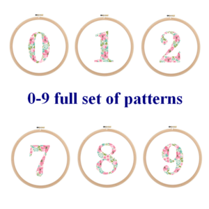 Floral numbers cross stitch