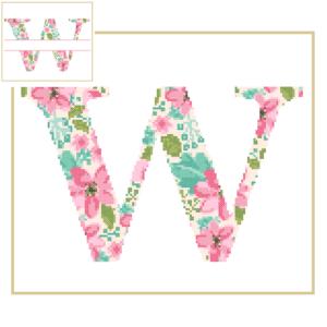 Floral W cross stitch