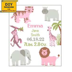 jungle cross stitch elephant hippo