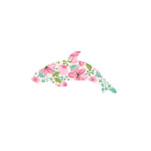 Ocra Whale floral cross stitch