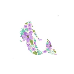 Purple Mermaid floral cross stitch
