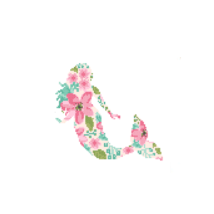 Mermaid floral cross stitch