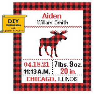 Buffalo Plaid Moose birth cross stitch