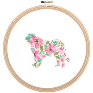 St Bernard Dog cross stitch